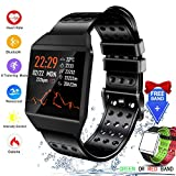 Bluetooth Smart Watch Fitness Tracker, Activity Tracker Heart Rate Monitor SMS&SNS Reminder Tacking Sports Pedometer Watch Compatible with iOS Android Phones SmartWatch IP67 Waterproof for Men Women