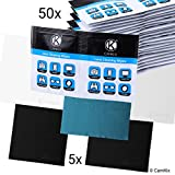 Lens and Screen Cleaning Kit - 5 Microfiber Cloths, 50 Individually Wrapped Wet Tissues - For Eyeglasses, Sunglasses, Camera Lenses, Phone / Tablet Screens, etc. - Advanced Formula