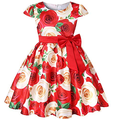 Princess Girls Event Dress Kid Birthday Party Independence Day Vintage Tutu Dresses Easter (Red02,120)]()