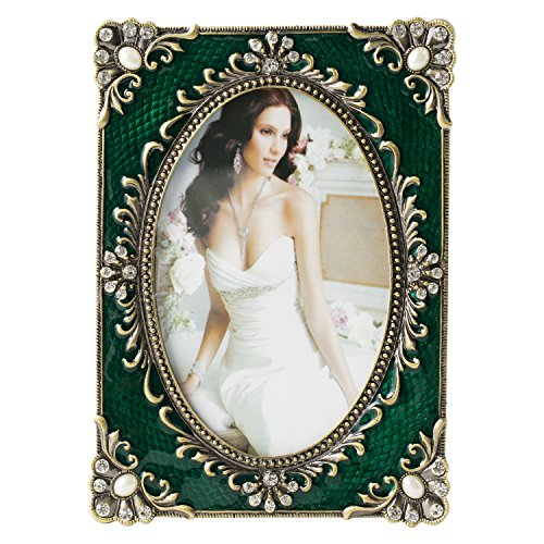 WorldWide Selection Home - Metal Photo Frame/Picture Frame, 5 x 7 inch, Real Clear Glass Front Cover, Vintage European Retro Style, Bronze Patina Plated, Tabletop Horizontally or Vertically ()