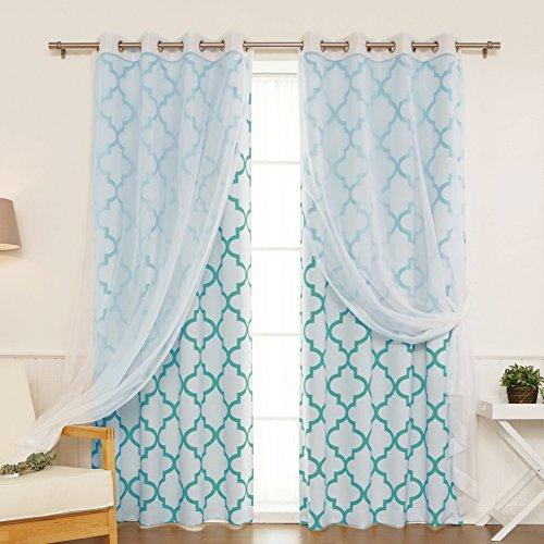 Best Home Fashion 4 Piece Mix & Match Voile/Room Darkening Reverse Moroccan Print Curtain Set, 52