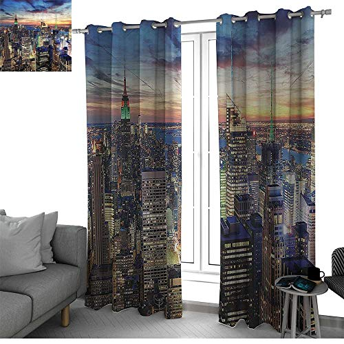 bybyhome New York Creative Blackout Window Drapes for Teenagers Bedroom Skyline of NYC with Urban Skyscrapers at Sunset Dawn Streets USA Architecture Kids Room Decor Orange Blue W108 x L96 Inch from bybyhome