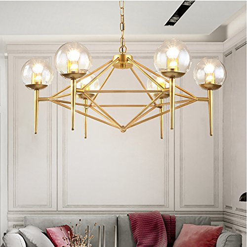 Wrought Iron Island Chandelier Pendant Lighting Metal Ceiling Light Gold Industry Lamp Pendant Lights Chandeliers By Luolax (6-Heads)