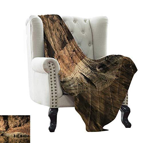 - Marilec Living Room/Bedroom Warm Blanket Nile Crocodile Swimming in The River Rock Cliffs Tanzania Hunter Geography Print Bedroom Warm 60