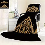 DOLLAR Blanket,ornament of gold plated vintage floral victorian style Traveling, Hiking, Camping, Full Queen, TV, Cabin, Couch, Bed Throw(60''x 50'')