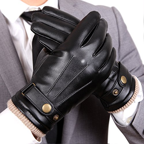 WARMEN-Mens-Touchscreen-Texting-Winter-PU-Faux-Leather-Gloves-Driving-Long-Fleece-Lining-Black-WoolCashmere-Blend-Cuff
