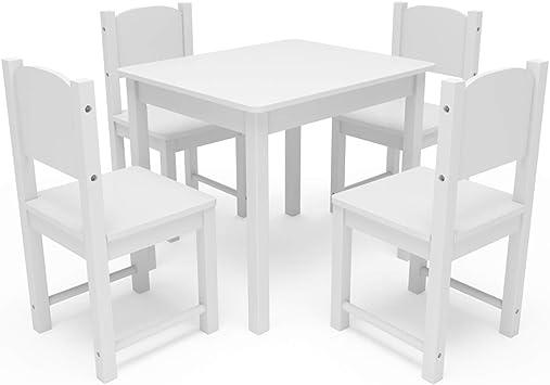 Timy Juego De Mesa Infantil Y 4 Sillas De Madera Para Niños Mesa De Juego Para Comer Leer Jugar En Color Blanco Furniture Decor