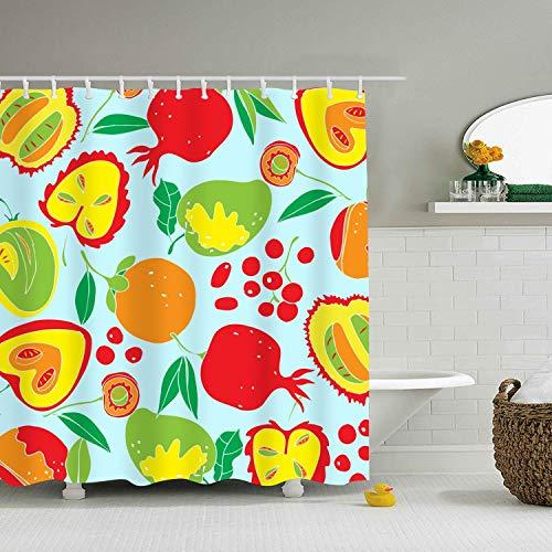 Food Vintage Wallpaper Shower Curtain with Hooks, Mildew Resistant for Bathroom