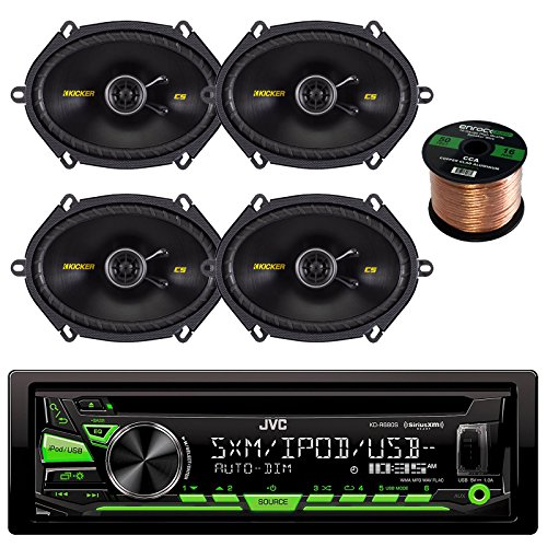"JVC KDR680S Car CD Player Receiver USB AUX Radio - Bundle Combo With 2 x Kicker 40CS684 6x8"" 2-Way Speakers (2 Pairs)+ Enrock 50 Ft 16 Gauge Speaker Wire"