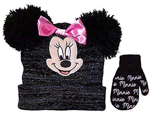 Disney Girls' Minnie Mouse Beanie Hat and Mitten