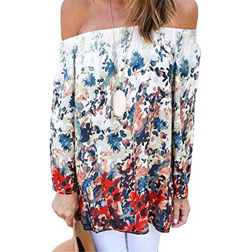 Eiffel Women's Vintage Floral Print Off Shoulder Boho Chiffon Blouse Top Shirt (Full Bloom Cami)