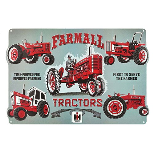 Open Road Brands Farmall Tractor Collage Die Cut Embossed Tin Sign (Tractor Sign Tin Case)