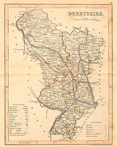 DERBYSHIRE County Map By ARCHER DUGDALE Peak District Polling - Vintage maps uk