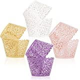 ELENKER 100pcs 4 Colors Cupcake Wrapper Lace Laser Cut Filigree Cupcake Wraps Liner Baking Cup