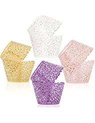 ELENKER 100pcs 4 Colors Cupcake Wrapper Lace Laser Cut Filigree Cupcake Wraps Liner Baking Cup