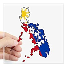"CafePress - Philippine Flag And Map Decal Sticker - Square Bumper Sticker Car Decal, 3""x3"" (Small) or 5""x5"" (Large)"