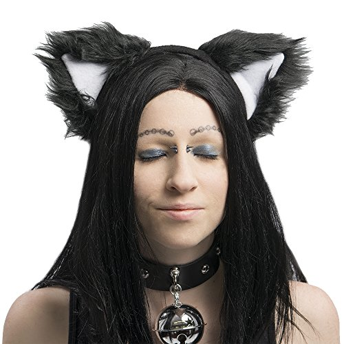 Animal Realistic Furry (Pawstar Basic Black Kitty Cat Furry Ear Headband Adult Size Costume - White)