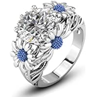 Ransopakul Two Tone Round Cut White Sapphire Daisy Promise Ring 925 Silver Women Jewelry (9)