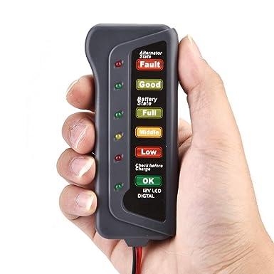 Yunnyp probador automotriz de la bater/ía del autom/óvil 12v comprobador de carga del alternador del analizador del probador de carga de la bater/ía de la motocicleta del coche 12v