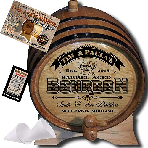 Personalized American Oak Bourbon Aging Barrel (102) - Custom Engraved Barrel From Skeeter's Reserve Outlaw Gear - MADE BY American Oak Barrel - (Natural Oak, Black Hoops, 2 Liter)