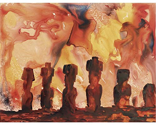 - Easter Island Moai heads silhouetted at sunset- Chile. Watercolor painting of Moai statues on Easter Island, Chile (print).