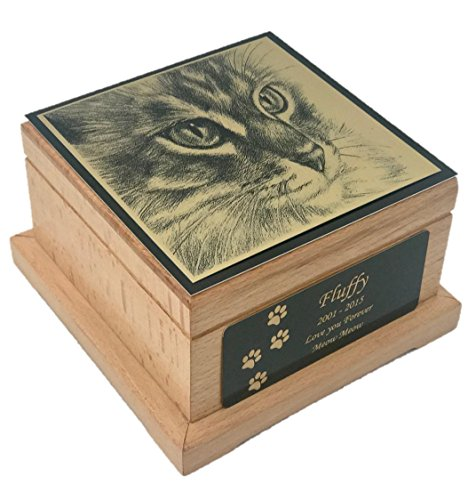Memorial Pet Urn, Wooden Cat Cremation Urn with Custom Engraving from NWA