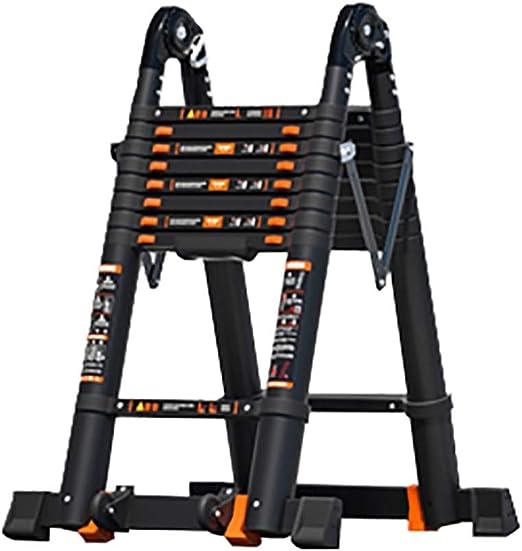 Escalera extensible Escalera telescópica Escalera Telescópica De Aluminio Negro con Estabilizador, Escalera Telescópica Plegable Portátil para Uso Doméstico Industrial o De Emergencia, Capacidad De 33: Amazon.es: Hogar