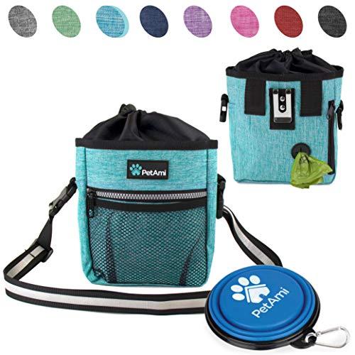 PetAmi Dog Treat Pouch | Dog Training Pouch Bag with Waist Shoulder Strap, Poop Bag Dispenser and Collapsible Bowl | Treat Training Bag for Treats, Kibbles, Pet Toys | 3 Ways to Wear (Turquoise) ()