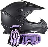 purple riding gear - Youth Kids Offroad Helmet Gloves Goggles GEAR COMBO - Purple, Matte Black (small)