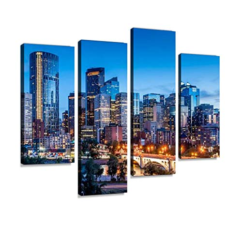 Calgary Skyline Canvas Wall Art Hanging Paintings Modern Artwork Abstract Picture Prints Home Decoration Gift Unique Designed Framed 4 Panel
