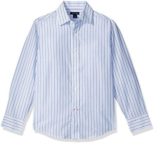 Tommy Hilfiger Boys' Double Twill Stripe Shirt, Medium Blue, 12