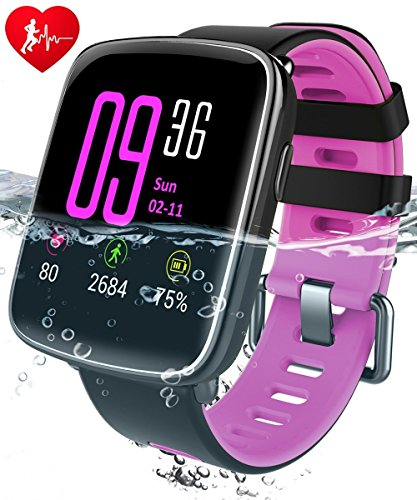 FLDOLPH Smart Watch with 1.54 inch TFT HD LCD Display Waterproof IP68 Water Resistant for Swimming Hear Rate Pedometet Sports Bluetooth Smartwatches Compitable for iOS and Android Smartphones (Pink)