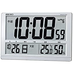 SEIKO CLOCK ( Seiko clock ) wall clock table clock combined digital radio clock temperature display humidity display a large flat-screen ( silver metallic paint ) SQ433S SQ433S