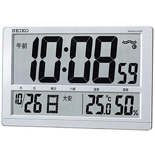 세이코 시계 (Seiko Clock) 벽시계 탁상 시계 겸용 라디오 디지털 캘린더 기념일 온도 습도 표시 대형 은색 메탈릭 SQ433S SEIKO