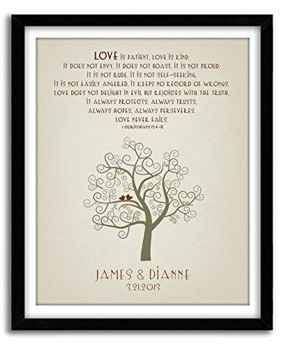 Personalized Wedding Gift, 1 Corinthians 13, Housewarming Gift, Wedding Shower gift, Family Tree Wall Art, Holiday Gift