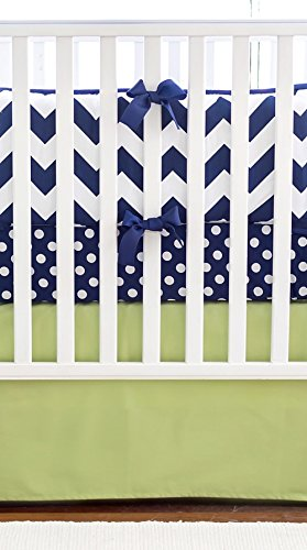 New Arrivals Crib Bed Set, Zig Zag Navy Trim