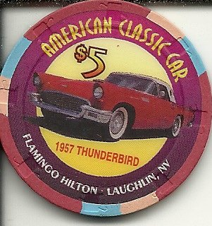 $5 flamingo hilton american classic car 1957 thunderbird laughlin nevada casino chip ()
