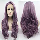 Lucyhairwig Long Wavy Synthetic Lace Front Wig Glueless Purple High Temperature Heat Resistant