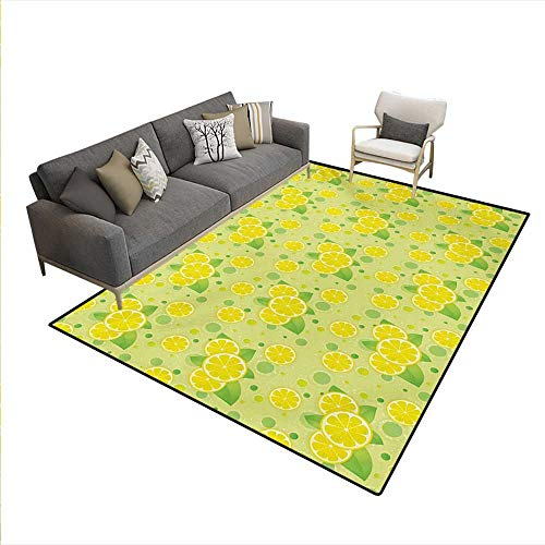 (Carpet,Lemon Lime Pattern in Retro Vintage Style Citrus Fruit Circles Natural Image,Indoor Outdoor Rug,Yellow Green,6'6