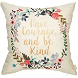 Fahrendom Have Courage and Be Kind Watercolor Wreath Nursery Quote Cotton Linen Home Decorative Throw Pillow Case Cushion Cover with Words for Sofa Couch 18 x 18 Inch