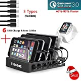 COSOOS Fastest Charging Station with QC 3.0 Quick Charge,6 USB Cables(3 Types),l Watch Holder,Universal 6-Port Charger Station Dock,Charging Docking Stand for Multiple Devices,Phones,Tablets
