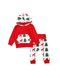 MIOIM Infant Toddler Baby Boys Girls Christmas Hoodie Sweatshirt Leggings Outfits Set
