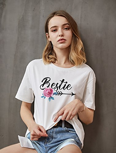 Corta bianco Maglietta Casual Shirts Donna Best Friend Amici Bestie Tumblr T Dolce Stampa Manica Donne Magliori per Girocollo Coppia Bianco Shirt BFF Estate Moda qv4gz