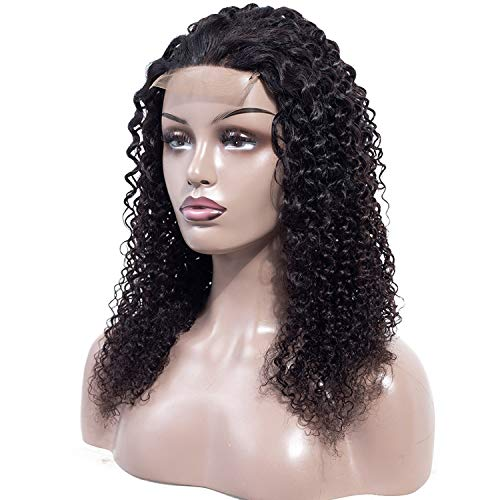 Mifil Hair 100% Human Hair Kinky Curly Lace Front Wigs Remy Lace Front Human Hair Wigs Plucked 150% Density,Natural Color,20inches -