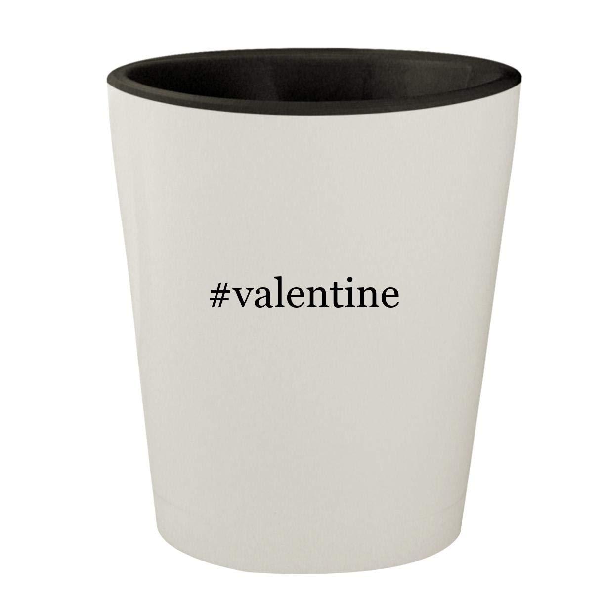 #valentine - White Outer & Black Inner Hashtag Ceramic 1.5oz Shot Glass