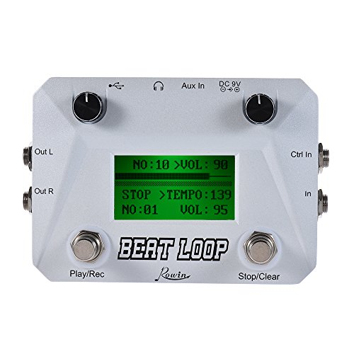 ammoon Rowin BEAT LOOP Loop Recording Guitar Effect Pedal Looper Max. 50min Recording Time Built-in 40 Drum Sounds with Pedal Footswitch Jack LCD Display USB Cable
