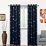 "NIM Textile Silver Star Thermal Insulated Blackout Panels Grommet Window Curtains for Living Kids Room, Galaxy Collection (2 Panels Set, 54""W x 84""L, Navy)"