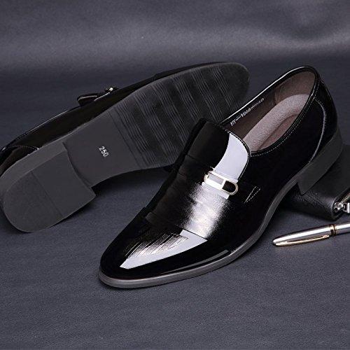 Ououvalley Homme En Cuir Verni Tuxedo Robe Chaussures À Lacets Bout Pointu Oxfords Noir