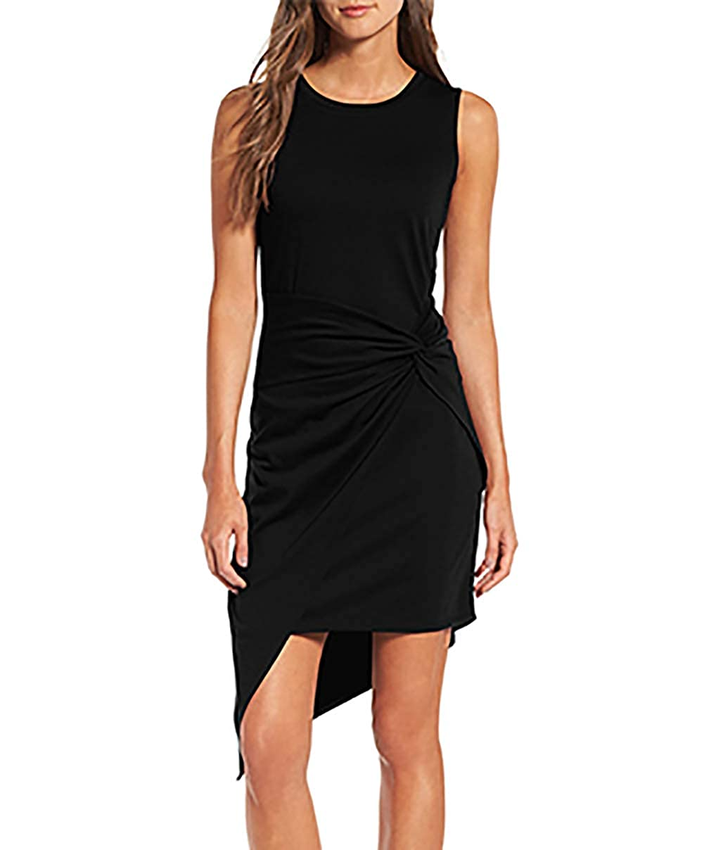 Black VamJump Women's Sleeveless Knot Asymmetrical Bodycon Work Sheath Dress