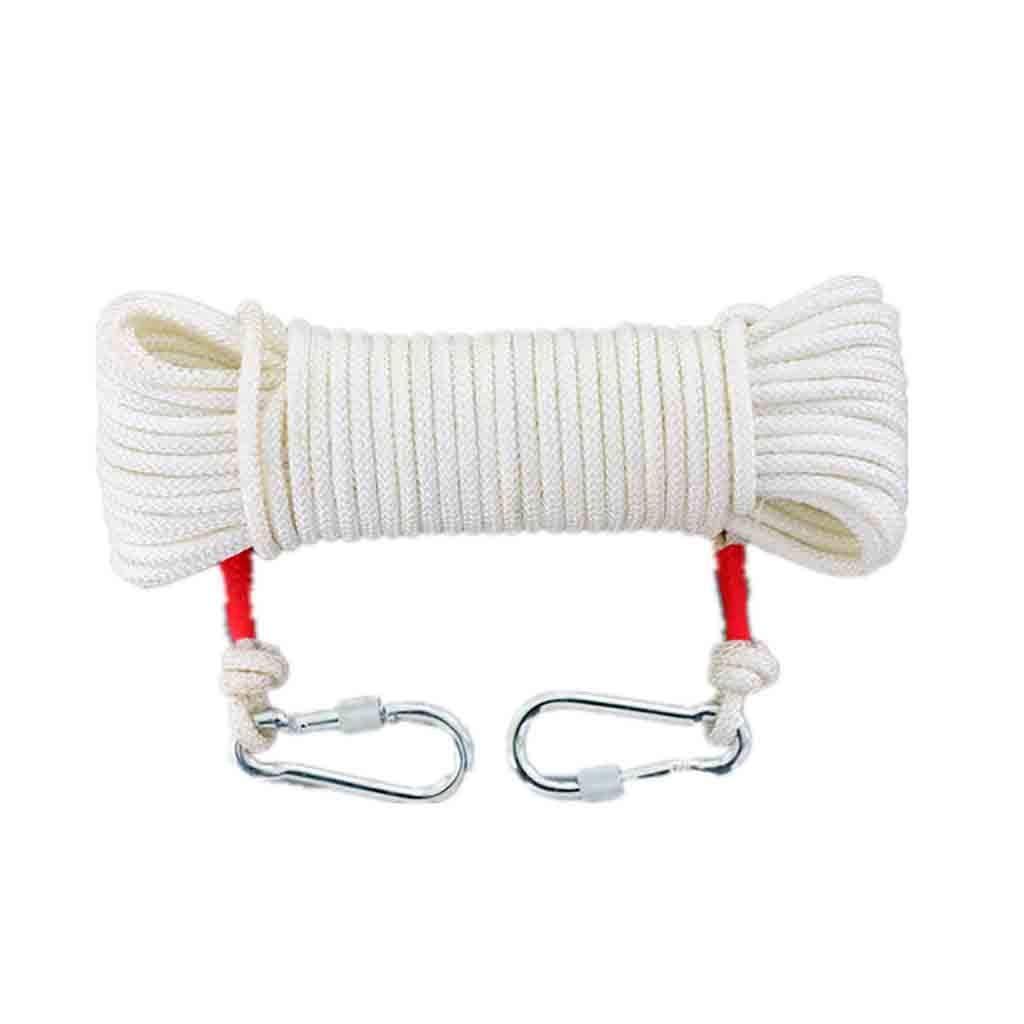10m YXWssa équipement d'escalade Corde de Secours en Nylon Blanc de 9mm, Corde extérieure de séchage de vêtements d'extérieur à Haute température for Les ménages, Ligne de Vie de Secours for Alpinisme